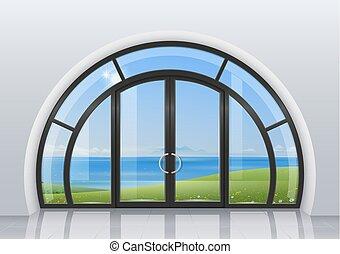 Arched door with window