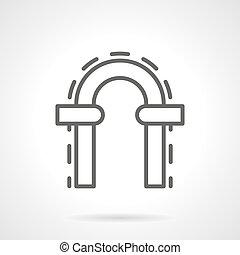 Arched doorway simple line vector icon