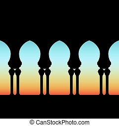 arched gallery on dawn sky background