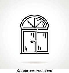 Arched window black line vector icon