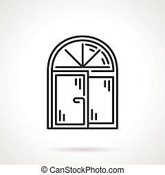 Arched window black line vector icon