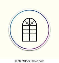 Arched window icon isolated on white background. Circle white button. Vector Illustration
