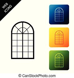 Arched window icon isolated. Set icons colorful square buttons. Vector Illustration