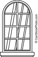 Arched window icon outline - Arched window icon in outline...