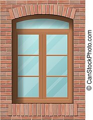 arched window in brick wall - Arched classic window in brick...