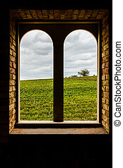 Arched window on the vineyard