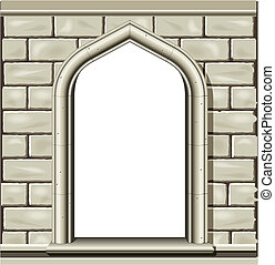 Illustration of an ancient arched window in a cut stone wall, suitable as a frame or border.