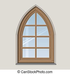 Arched wooden window with muntin bars in vector graphics