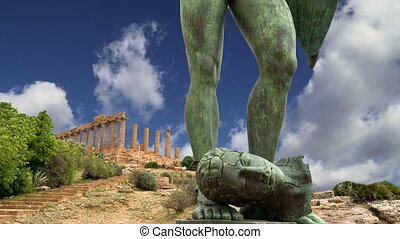 archeological area,Agrigento - The statue in the...