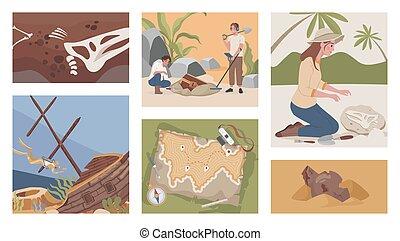 Archeological excavation vector flat illustrations. Men and women digging, using metal detector to excavate treasures.