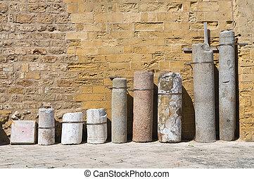 Archeological find. Otranto. Puglia. Italy.