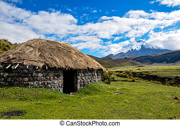 Archeological Indian Hut in Cotopaxi National Park, Ecuador.