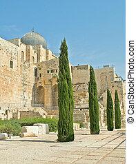 Archeological park at old city in Jerusalem