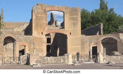 Archeological site in Rome, esedre monument in Hadrian's Villa Tivoli