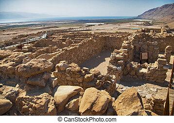 Archeological site, Qumran, Israel. - Dead Sea Scrolls,...