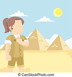 archeologist amazed by egyptian pyramid