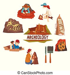 Archeology and Paleontology Set, Scientist Working on...
