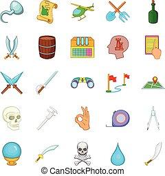 Archeology icons set, cartoon style - Archeology icons set....