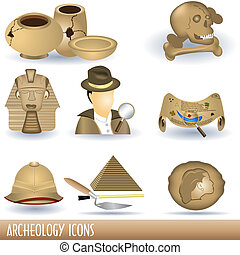 Archeology Icons - Set of nine archeology brown colored...