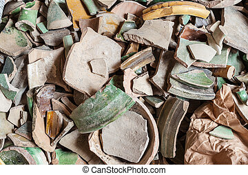 Archeology - a lot of antique and dirty crockery of...