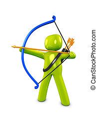 Archer - 3d image, conceptual longbow man