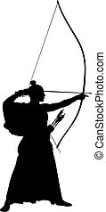 Archer - Abstract vector illustration of japanese archer...
