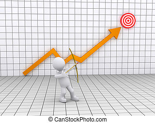 Archer aiming at a target and a graph