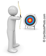 Archer aiming target - 3d isolated characters sports series
