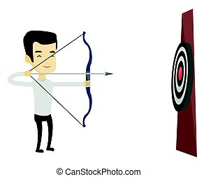Archer aiming with bow and arrow at the target.