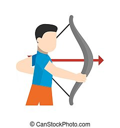Archer, arrow, bow, target, shoot, sports icon vector image....