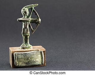archer bronze figurine, arrow and bow statuette