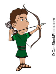 Archer cartoon - Illustration of medieval archer, isolated...