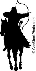 Archer - Abstract vector illustration of riding archer...