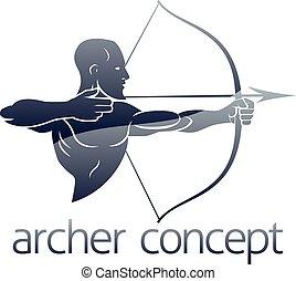 Archer Concept - Conceptual archery sports illustration of...