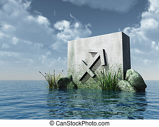 archer - stone monument asterisk archer symbol at water - 3d...