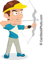 Archer - Caricature illustration of an archer aiming with...
