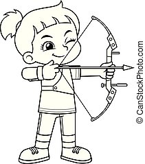 Archer Girl Aiming Target BW.