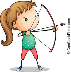 archer girl - Illustration of a girl with archery set