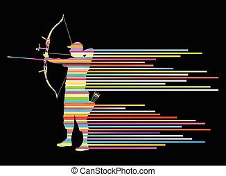Archer man bending bow vector background concept made of...