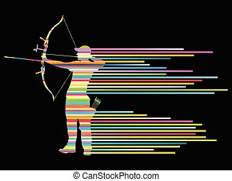 Archer man bending bow vector background concept