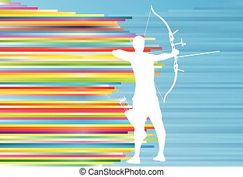 Archer man training with bow vector background abstract...