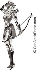 archer - the girl Archer in a suit with bow in hand on white...