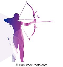 Archer training bow man silhouette illustration vector...