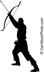 Archer with bow and arrow vector silhouette