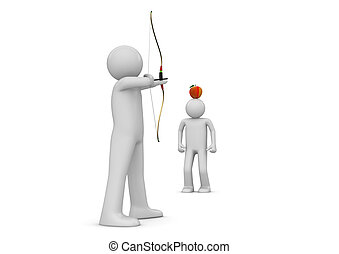 archer, viser, à, les, pomme, -, sports, collection