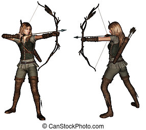 Archer woman 2 poses