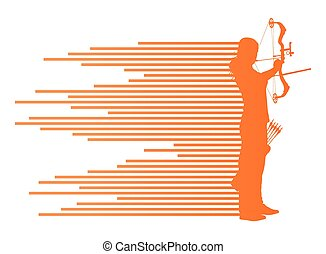 Archer woman bending bow vector background concept
