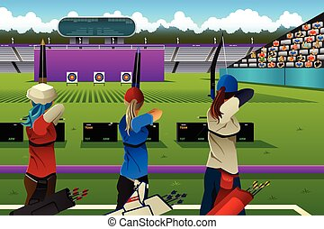 Archers in the archery competition - A vector illustration ...