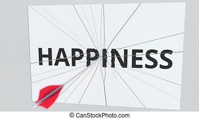 Archery arrow breaks plate with HAPPINESS text, conceptual 3D animation