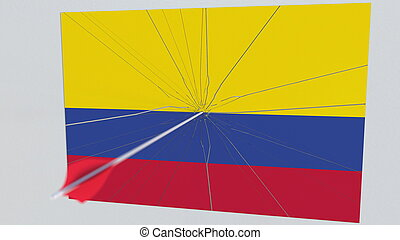 Archery arrow hits flag of COLOMBIA plate. National security breach related 3D rendering